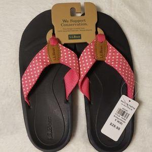 L.L. Bean Pink Polka Dot Flip Flops